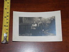 RARE OLD VINTAGE POSTCARD RPPC REAL PHOTO HUSBAND WIFE IN GARDEN