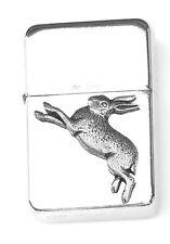 Hare Running Emblem Windproof Petrol Lighter FREE ENGRAVING Personalised 172