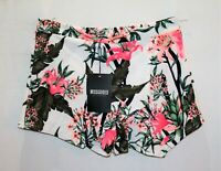 Missguided Brand White Pink Tropical Floral Print Skort Size 12 BNWT #RI25