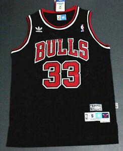 Rétro Scottie Pippen #33 Chicago Bulls Basketball Jersey Maillots Cousu Noir