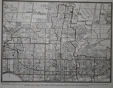 Vintage 1941 OLD WWII Black White City Map Toronto, Ontario, Canada World War II