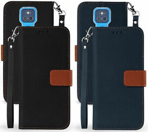 Durable Wallet Case Credit Card Cover Wrist Strap for Motorola Moto G Play 2021