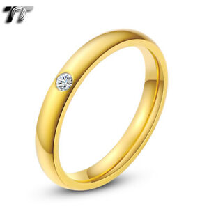 TT 3mm 14K Gold GP Stainless Steel Wedding Comfort fit Band Ring (R116J)