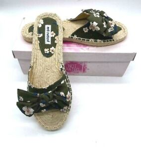 Not Rated Women's Khaki Green Open Slide Sandals with Floral Print NIB Size 9.5