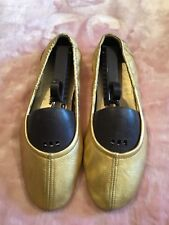 Prada women ballerina Dancing Shoes Gold leather elastic flat shoes 37