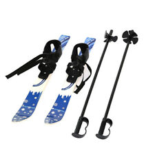 Kids Beginner Snow Skis and Poles with Bindings Snowboard ABS Plastic Age 3-8