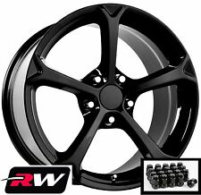 "Corvette Wheels C6 Grand Sport Gloss Black Rims 17""/18"" & Lug Nuts fit C4 88-96"