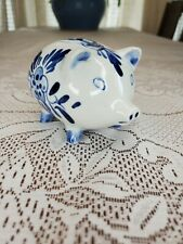 Vintage Delft Holland piggy bank blue and white porcelain