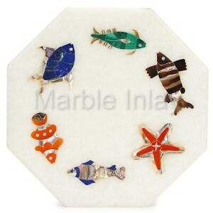 Marble Inlay Tile With Fish Design Pietra Dura Work Home Decor Wall Plaques