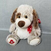 """2014 Kellytoy Valentine Puppy Dog Heart Bow Stuffed Plush Animal Toy 13"""""""