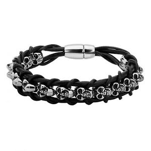 INOX 316L Stainless Steel Skull in Black Braided Leather Chain Bracelet 8.5""