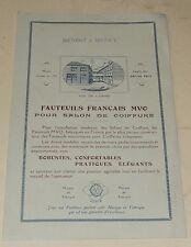 Dépliant publicitaire FAUTEUILS FRANCAIS MVO pour SALON de COIFFURE