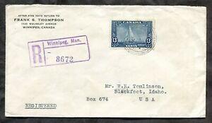 p1372 - WINNIPEG 1935 Britannia Yacht on Registered Cover to USA ✉