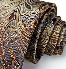 "RECENT Canali Brown Wild Paisley Tie 3.5"" Silk 60L"