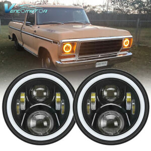 Pair 7'' Round LED Headlights HiLo Beam Halo Ring DRL Fits For Ford F100 69-79