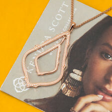 Kendra Scott Simon Long Pendant Necklace In Rose Gold NEW