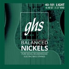 GHS 4L-NB Balanced Nickels Pure Nickel Bass Guitar Strings - Light