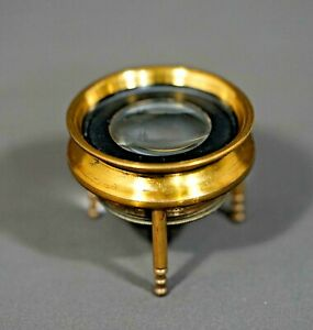 19c.Victorian Gild Brass Map Chart Stamp Magnifier Loupe Magnifying Glass Tripod