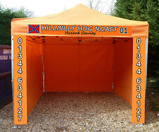 ORANGE HEAVY DUTY COMMERCIAL GAZEBO WATERPROOF 3 WALLS AND SIGN DESIGN INCLUDED