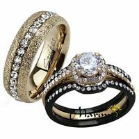 Hers His 4 PC BLACK & ROSE GOLD STAINLESS STEEL WEDDING ENGAGEMENT RING BAND SET