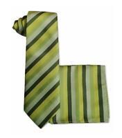 Mens Striped Green Yellow necktie Tie + Pocket Square wedding event prom UK