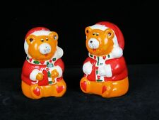 Vintage Christmas Santa Bears With Candy Cane  Salt & Pepper Shakers