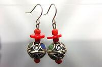 Moroccan Earrings Coral Glass Beads French Hook Nickel Free Berber Earrings
