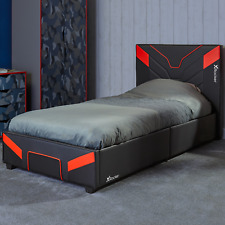 X Rocker Gaming Bed in a Box Black Faux Leather Bedstead 3ft, 4ft, 4ft6 Cerberus