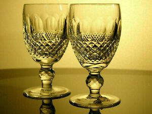 Waterford Crystal Colleen White Wine Glass Pair Vintage Made in Ireland