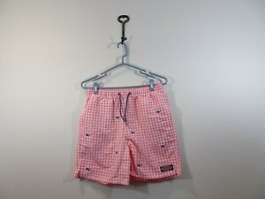 Vineyard Vines Boys Swim Trunks Size L 16 Pink White Checked Whale Embroidered