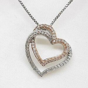 Genuine .42ctw H-SI Diamond 10K Rose Gold 925 Sterling Heart Necklace 3.8g
