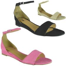 New Womens Low Heel Peep toe Summer Shoes Ladies Bridesmaid Wedding Sandals Size