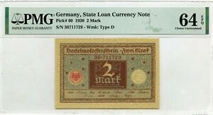 GERMANY 2 MARK 1920 STATE LOAN CURRENCY NOTE PICK 60 VALUE $128