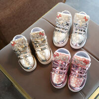 Toddler Baby Kids Girls Boys Sneakers Star Luminous Casual Colorful Light Shoes