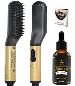 Mens Electric Beard Hair Straighteners Brush Comb with Oil Grooming Kit Set