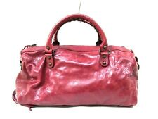 Auth BALENCIAGA Classique Twiggy 409334 Bordeaux Leather Handbag