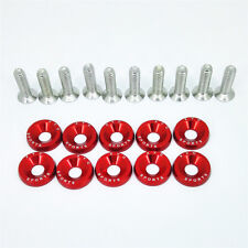 Red Aluminum Alloy Fender Bumper Engine Dress Up Washers Kit with Bolts 10pcs