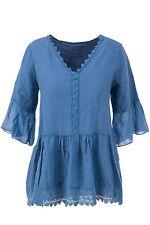 Leinene 3/4 Arm Damenblusen, - tops & -shirts ohne Muster für die Freizeit