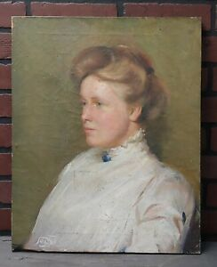 Antique Victorian Oil Painting Jennie Lawrence Williams of Pepperell MA - Signed