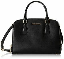 MICHAEL KORS LEDERTASCHE/BAG REESE LG SATCHEL black/schwarz  gold