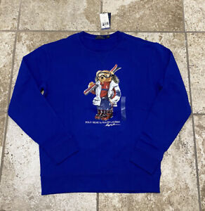 Polo Ralph Lauren Ski Skiing Bear Crewneck Sweatshirt Sweater Blue NWT Men's L