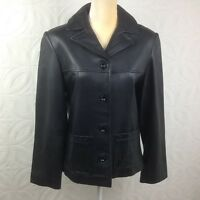 Women's Dinno Gallucci  Black Genuine Leather Button Up Jacket Car Coat Sz S-M
