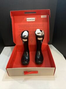 Hunter Kid's Black Slight Gloss Rubber Rain Boots Size US 12 Unisex