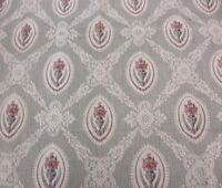 Antique French Victorian Home Dec Unused Fabric Textile~Roses & Lace Frame