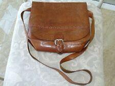 Vintage 70s Italian Leather Handtooled & Handsewn Brown Shoulder Handbag Purse
