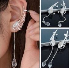 Fashion Angel Wing Crystal Silver Earring Drop Dangle Ear Stud Cuff Clip Jewelry