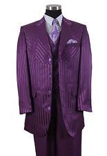Men's Four Button Shiny Shadow Stripes Fashion Suit With Vest 2915v Purple 46 / 40 Long