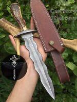 DSK!! CUSTOM HAND MADE DAMASCUS STEEL WAVY DAGGER  KNIFE HANDLE STAG HORN