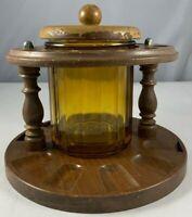 Vintage Wooden Round 10 Tobacco Smoking Pipe Holder w Glass Jar Aztec NICE