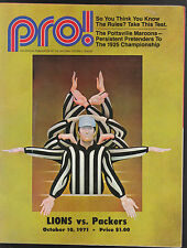 10/10/1971 DETROIT LIONS GREEN BAY PACKERS PRO MAGAZINE PROGRAM